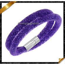 Hot Sale Mesh Double Stardust Bracelets with Crystal Stones Filled Magnetic Clasp Charm Bracelets (FB0128)