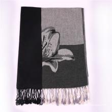 Echarpe en coton noir pour dames Pashmina d'hiver avec motif jacquard