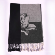 Ladies′ Black Cotton Scarf Winter Pashmina with Jacquard Flower Pattern