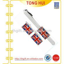 UK flag Metal Cufflinks & Tie bares regalo conjunto de accesorios de prendas de vestir