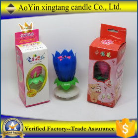 Popular Fireworks Lotus Music Rotating Birthday Candle