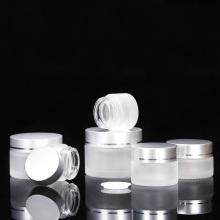 Tarros de crema de vidrio esmerilado con tapa de aluminio
