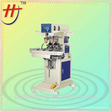 Semi Automatik Easy Pad Drucker für Spielzeug, Pcb, Kunststoff, Leder, pneumatische 2 Farben in Cup Pad Druckmaschine mit Förderband