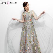 OBT8056 V-back ruched and beaded padrões de vestido de noite estoque maduro vestidos de noite senhoras