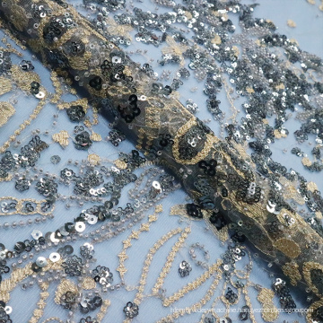Dark Sequin Beaded Embroidery Lace