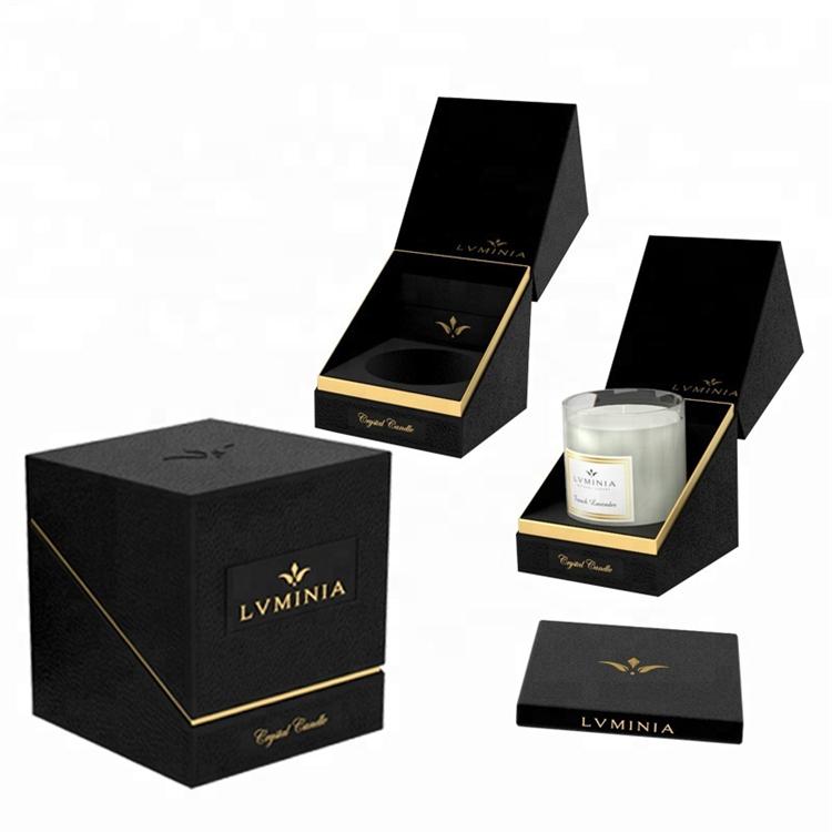 Black Luxury Rigid Paper Cardboard Candle Gift Box