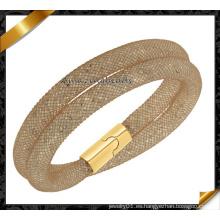 De alta calidad de dos capas de marrón de malla magnética pulsera de venta al por mayor (fb0126)