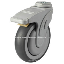 Bolt Hole avec type de frein Plastic Medical TPR Caster