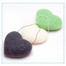 100% éponge de Konjac en forme de coeur organique pour le nettoyage du visage / éponge écologique