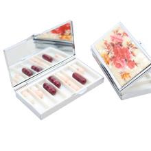 Pillbox en métal 6 boîtes, boîte à pilules portative pour Lady