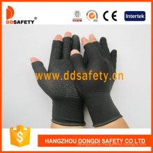 Guantes de trabajo negros del algodón del medio dedo de Nlyon Shell Black Dots Dkp529