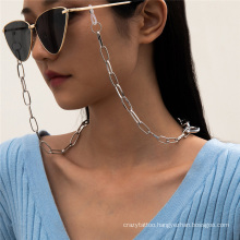 European and American Fashion Jewellery Silver Hip-Hop Retro Ins Metal Chain Hanging Neck Rope Reading Glasses Sunglasses Chain Glasses Chain Men and Women2021