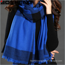 100%Acrylic Lady Winter Plaid Woven Long Scarf