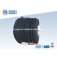 Corde d'amarrage en nylon noir 8 brins