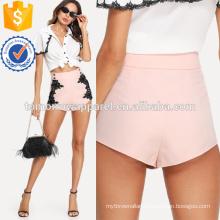 High Waist Button Detail Lace Applique Shorts. Manufacture Wholesale Fashion Women Apparel (TA3023B)