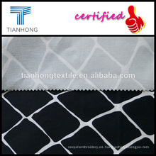 negro algodón geométrica spandex tela cruzada armadura de Satén impreso tela de estiramiento para ropa pantalones slim