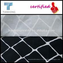 géométrique sergé spandex armure satin stretch imprimé tissu de coton noir pour pantalon slim de vêtements