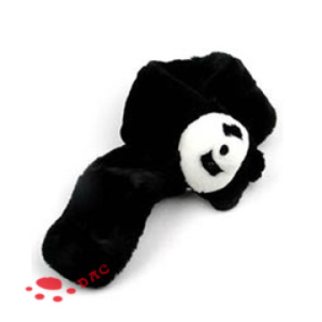 Plush black panda scarf