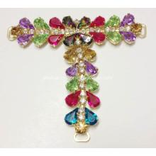 Colorful Diamante with Drops Design T-Strap Sandal Chain, Luxury Diamante Sandals Trim for Flat Heel Women Casual Sandals Flat