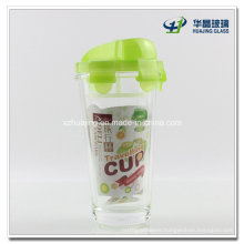 400ml Round Airtight Lock Drinking Glass Water Bottle