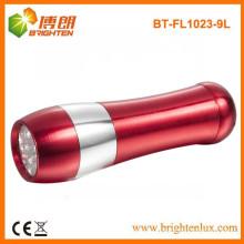 Fábrica de suministro de emergencia utilizado Metal Bowling en forma de aluminio 9 llevó linterna linterna