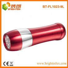 Factory Supply logo printing aluminum Material 3*aaa Battery Powered 9 led Cheap Flashlight For Outdoor and Housing