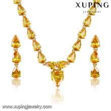 Ensemble de bijoux en forme de coeur plaqué or de luxe de mode CZ pour le mariage (S-9)
