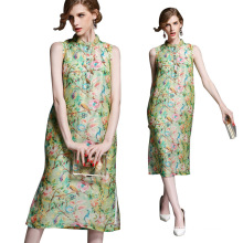 Top quality gorgeous sleeveless midi Silk summer dress women