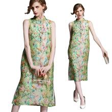 Top qualidade lindo sem mangas midi Vestido de verão de seda mulheres