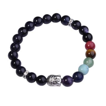 7 Chakra Gemstone Beads Buddhism & Buddha Alloy Blue Goldstone Bracelet