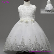 2017 Beautiful White Flower Girls Dresses Beaded Lace Appliqued Bows Vestidos de desfile para a festa de casamento dos miúdos
