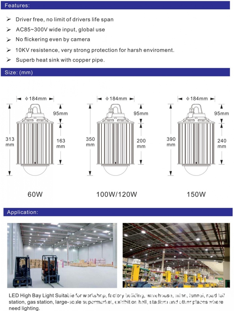 60w 100w 120w LED High Bay Lighting