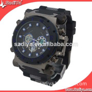 Black Multifunction Alloy Case Plastic Strap Cool Men Sport Watches