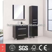 Armário de banheiro MDF simples Gabinete de banheiro preto