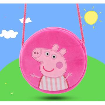Mochila del bolso del bordado del juguete de la felpa del cerdo de la historieta