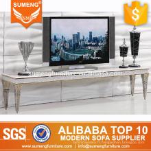 2017 vente chaude salon de luxe en marbre top tv meuble tv meuble avec cadre en acier inoxydable