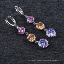 AAA Quality Zircon Three Round Zircon Plated Silver Gold Earrings