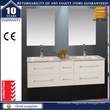 60′′ White Wall Hung Bathroom Cabinets with Dounle Sink