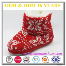 Hot vendendo floco de neve vermelho tricotado botão chifre botas interiores quentes para crianças