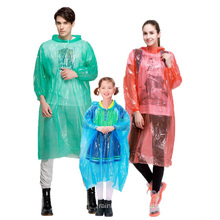 Red disposable fashion adult pe waterproof biodegradable raining wear cycling pockets wallet ponchos gear raincoat for women
