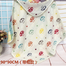 90X90cm 6 Layers Muslin Mushroom Towel for Baby with Hat