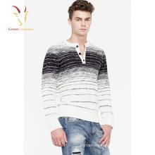 Intarsia Design Knitwear Men's Round Neck Cashmere Sweater