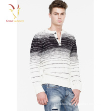 Intarsia Design Malhas Sweatshirt de cashmere em torno do pescoço dos homens