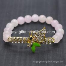 Wholesale Diamante Dragonfly With 8MM Semi Precious Stone Stretch Bracelet