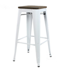 Wholesale cheap furniture white commercial industrial iron bar stool top with wood board bar chair