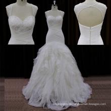 Sweehteart Perlen Organza Brautkleider Lowcut in der Rückseite