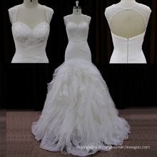 Sweehteart perles robes de mariage en organza Lowcut dans le dos
