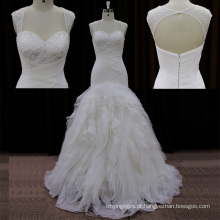 Sweehteart beading vestidos de noiva de organza lowcut nas costas
