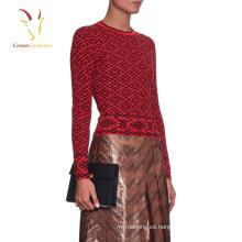 Jersey de punto de lana Intarsia de señora apretado