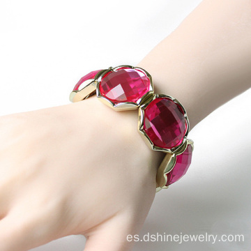 Piedra de acrílico diamante Stretch Bangle pulseras de cristal de diseño